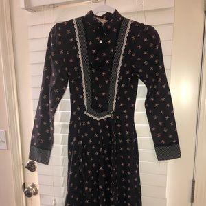 Polka Dot Floral Black Gunne Sax Dress Repairs